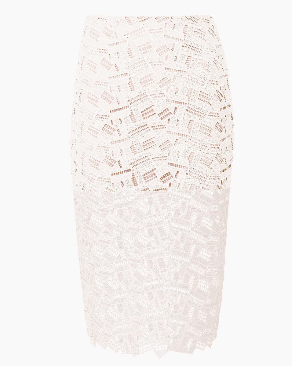 Veronica Beard Lace Cutout Eden Pencil Skirt