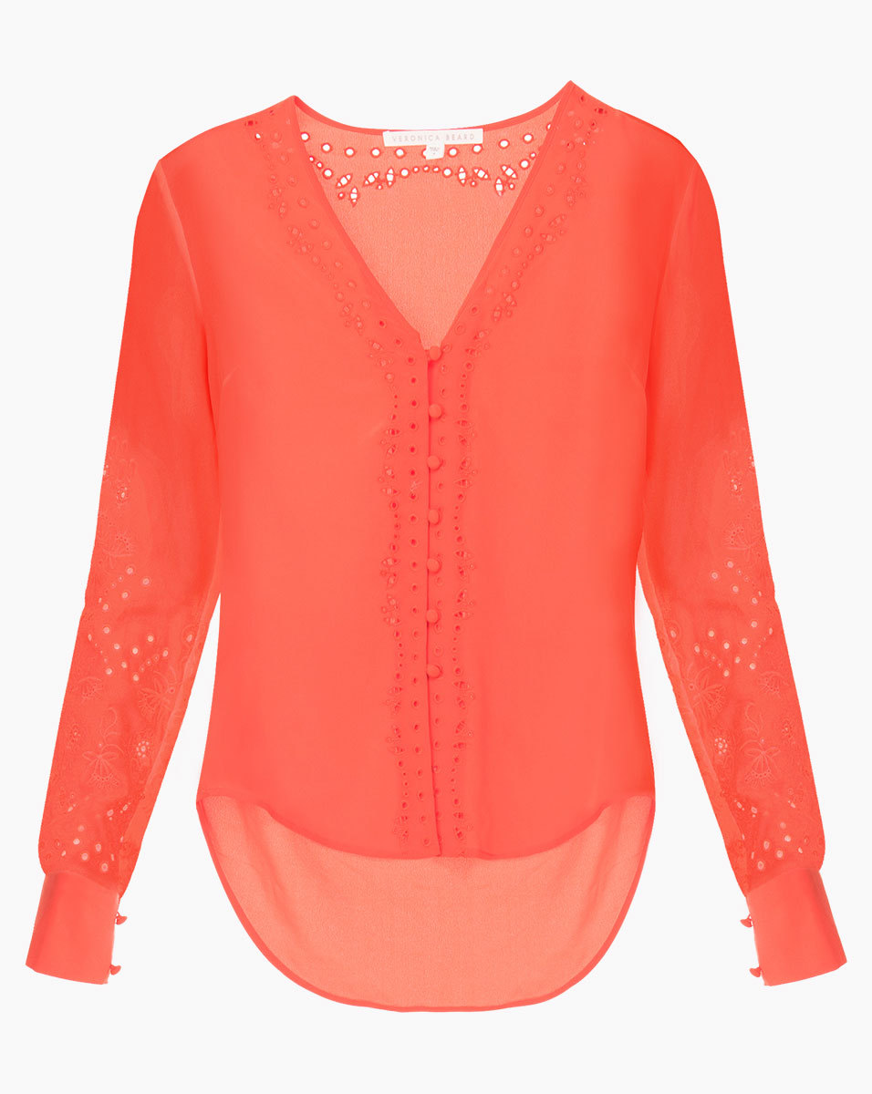 Veronica Beard Barth Embroidered Top