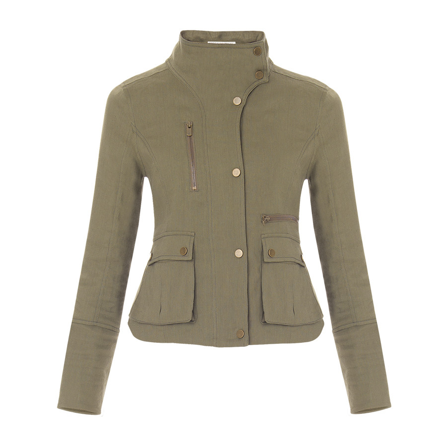 Veronica Beard Army Green Cargo Jacket