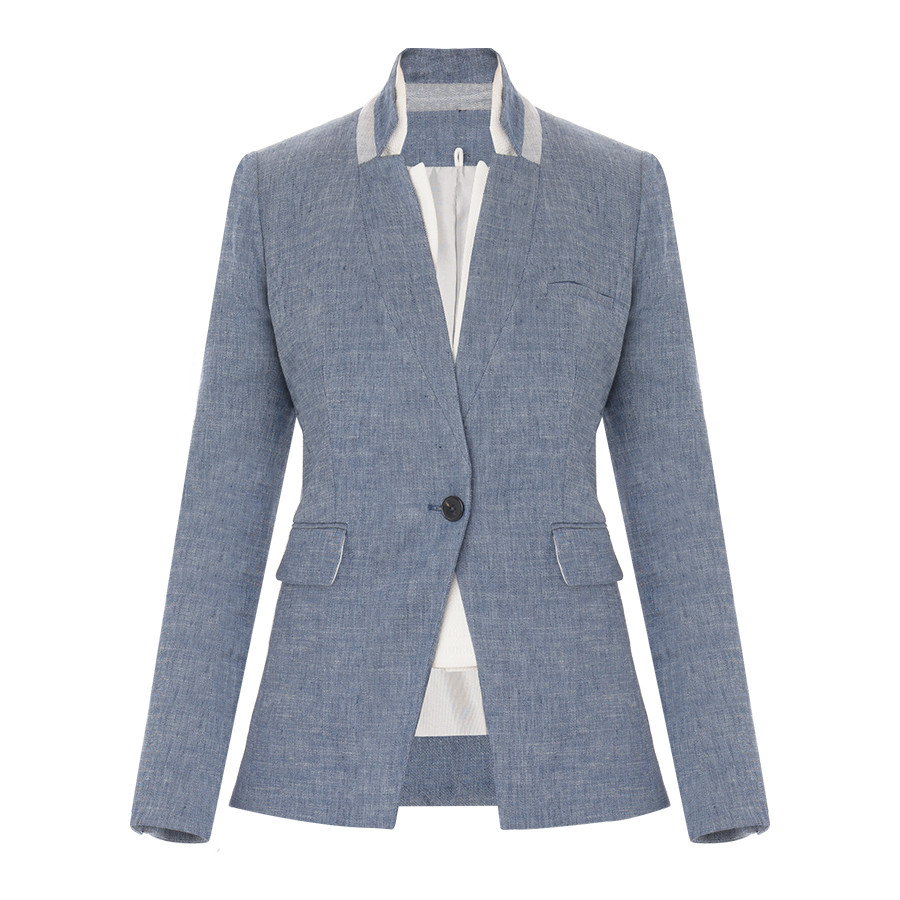 Veronica Beard Blue Linen Dickey Jacket